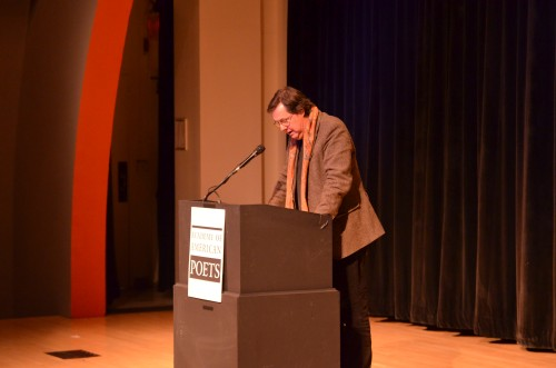 "John Taylor reading from his translations of Lorenzo Calogero at the Poets Awards Ceremony of the Academy of American Poets, Poetry Forum, October 25, 2013 at the Tishman Auditorium, The New School, 66 West 12th Street, New York. Photo Credit: ""Academy of American Poets"""
